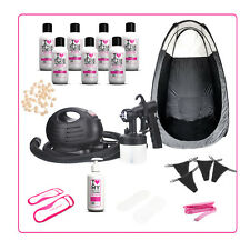 Spray Tanning HVLP Airbrush Kit: Machine,PopUp Tent, 7 Fake Tan Solutions & More