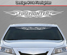 Design #116 FIREFIGHTER Tribal Flame Windshield Decal Window Sticker Graphic Car