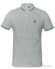FLY 53 DIRT ROAD Grey Mens Polo Shirt Branded Buttons Fly Ribbed Collar BNWT