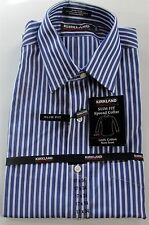 *New* Kirkland Men's Blue Dress Shirt-Slim Fit/Non-Iron/Spread Collar/Many Sizes