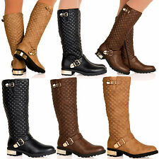D1Y Womens Leather Look High Calf Under Knee Winter Boots Flat Ladies Shoes Size