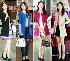 Women's Blazer Long Sleeve Slim Fit Collarless Coat Cardigan Parka Jacket Suits