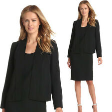 New Womens Black Blazer Jacket Suit Work Casual Basic Long Sleeve TWO PIECE SETS