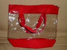 WOMEN'S CLEAR PURSE BAG TOTE, BLACK OR RED TRIM,(Need a clear bag 4 work?),NWOT!
