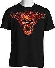 Raging Flames Skull T Shirt Bikers Hot Rods Inferno Mens S to 3XL and Tall