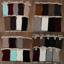 Women Fashion Crochet Knitted Lace Trim Boot Cuffs Toppers Leg Warmers Socks