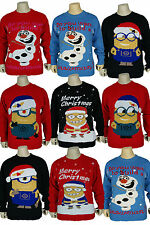 Kids Boys Girls Unisex Christmas Novelty Olaf Knitted Xmas Jumpers For Ages 3-12