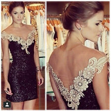 New Women's Sexy Deep V Neck Sequins Straps Lace Club Party Cocktail Mini Dress