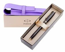 Parker Fountain Pen with London Collection Leather Pen Case - URBAN Muted Black