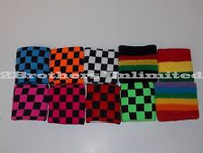**NEW** Colorful Sweatband Checkered (Pairs) USA SELLER