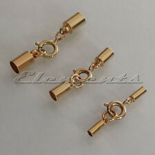 Gold Plated Kumihimo Cord End Caps Necklace Bracelet Tips With Bolt Ring Clasp