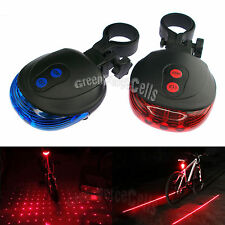 5 LED 2 Laser Line Star Cycling Bicycle Bike Taillight Warning Lamp Flashing