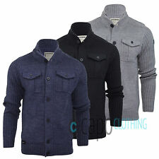 Mens Cardigan Dissident 1B4834 Wool Mix Funnel Neck Button Jumper Jacket