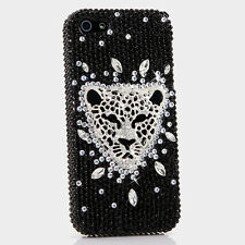 iPhone 6 6S / 6S Plus 5S Bling Crystal Case Cover Black Clear Silver Leopard
