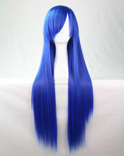 New Fashion Long Anime Wigs 80cm Cosplay Wigs Full Straight Womens Hair Blonde