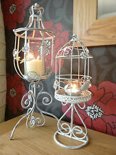 White Metal Bird Cage Candle Holder Vintage Chic Stand Wedding Table Decoration