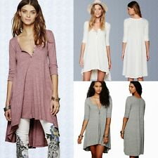 Oversized Maternity High Low T-shirt Top Tee Women Asymmetric Shirt Dress Button
