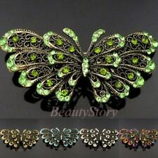 antiqued rhinestone crystal Butterfly hair barrette clip