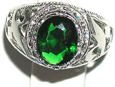 Men's Emerald & White Topaz Stainless Steel Ring ** May Birthstone ** 31513