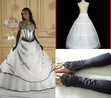 Charming New Hot White/Black Wedding Gown Prom Evening Dress stock lot Size6-16