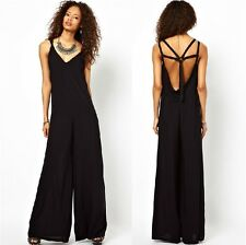 New Fashion Sexy Black Womens Jumpsuit Playsuit Wide Leg Pants Trousers Rompers
