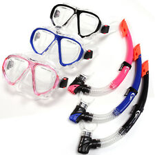 Pro Anti-Fog Adult Snorkel Mask Blue Black Pink Scuba Goggles Purge Valves Set