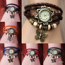 Fashion Butterfly Bracelet  Leather Women's Quartz watch Bangle Retro Wristwatch