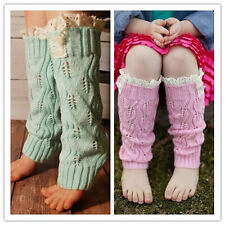 Girls Child Crochet Knit Hollow Leaf Leg Warmer Lace Trim Topper Boot Sock Cuff