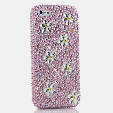 iPhone 6 6S / 6S Plus 5S Bling Crystals Case Cover Pink Silver AB Daisy Flowers