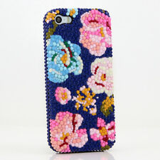 iPhone 6 6S / 6S Plus 5S Bling Crystals Case Cover Blue Pink Flowers Faceplate