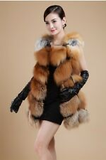 New Women's Real Genuine Whole Skin Red Fox Fur Long Gilet Vest Waistcoat