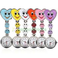 Fashion Heart Shape Smile Face Nurse Fob Brooch Pendant Cute Pocket Watch