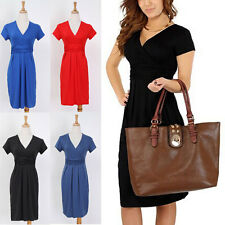 Women Maternity Pregnant Office Stretch Tunic V Neck Soft Breastfeeding Dress