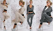 Ladies' 2-Piece Jog Suit Hooded Disco Classy Leisure S M L New