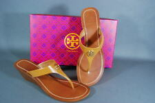 Tory Burch Cameron Wedge Thong Sandals Tan Saffiano Leather 7.5 8 8.5 NIB
