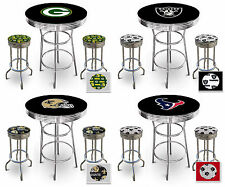FC507 NFL THEMED CHROME METAL BLACK BAR PUB TABLE SET W 2 SWIVEL SEAT STOOLS