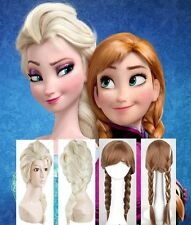 "New 24"" Disney Frozen Elsa/Anna Blonde/Grey/Brown Adult/Children Christmas Wigs"