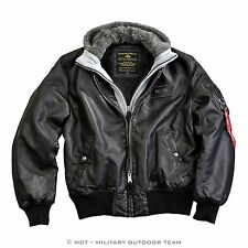 Alpha Industries Ma-1 D-TEC FL Leather Jacket (Synthetic Leather), Black, 123106
