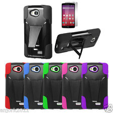 LG Optimus F60 Tribute Transpyre Hybrid Dual Layer Case w/Stand Cover+Film LS660