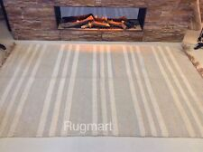 Cream Grey Striped Eco Friendly Cotton Jute Washable Rug Durrie XS- Large 50%OFF