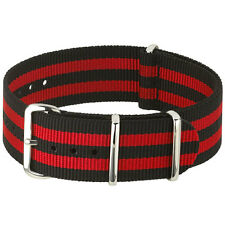 Black, Red Nylon Watch Strap, Military-Style Nylon Band, SS Buckle and Keepers