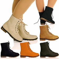 D1Y Ladies Womens Lace Up Desert Military Combat Flat Casual Ankle Boots Shoes