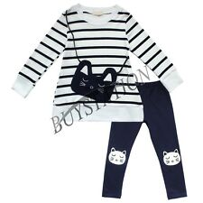 Girls Long Sleeve Dresses Cat Leggings Pants Holiday Striped Outfit Kids Clothes
