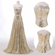 Stunning Sequins Corset Evening Formal Ball gown Party Prom Bridesmaids Dresses