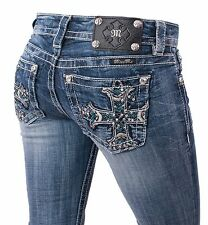Miss Me jeans straight leg cross pockets crystal studs white stitching new tags