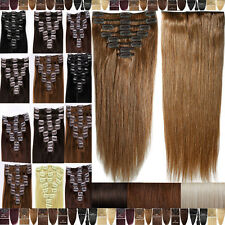 Premium 100% Good Clip In ON Remy Human Hair Extensions Full Head US SELLER F191