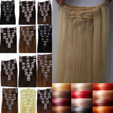 Premium Lengths Clip In Remy Human Hair Extensions Full Head Beauty Lady US F256