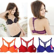 Fashion Women Lady Front Closure Lace Racer Back Racerback Push Up Seamless Bra
