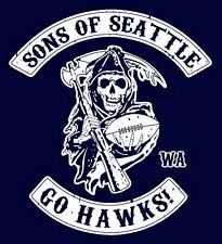 Seattle Seahawks NFL Football Navy Blue T-Shirt Sons of Seattle Go Hawks!