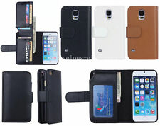 Card Holder Flip Wallet Leather Case Cover For Apple iPhone Samsung Galaxy Phone